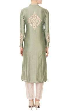 dull mint green chanderi silk gold boti embroidery a-line kurta with pants & dupatta