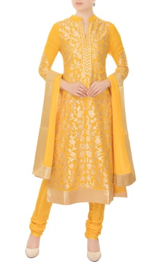 yellow chanderi silk gold applique work a-line kurta with churidar & dupatta