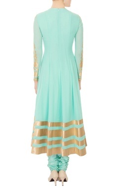 aqua blue chanderi silk gold applique work anarkali kurta with churidar & dupatta
