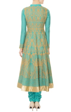 aqua blue chanderi silk gold dori embroidery anarkali kurta with churidar & dupatta