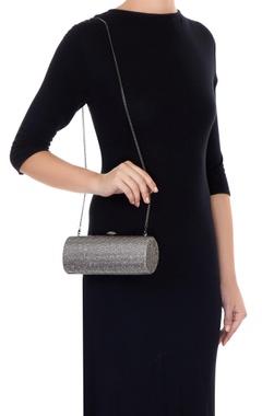 Silver metal crystal studded sling bag