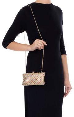 Multi-colored metal diagnol striped sling bag