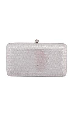 Crystal Craft White metal box sling bag