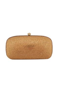 Crystal Craft Golden metal box sling bag