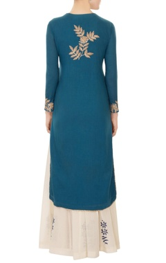 teal blue gold trim detailing kurta set