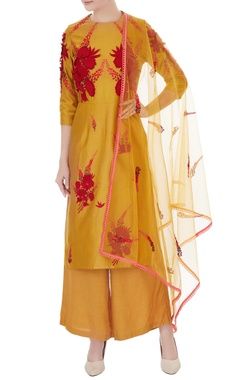 gold-yellow chanderi hand-crafted kurta set
