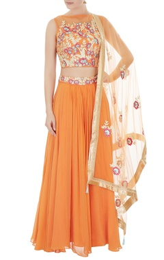 orange hand-crafted net lehenga with cold-shoulder blouse & dupatta