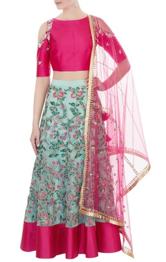 blue net hand-embroidered lehenga with cold-shoulder blouse & dupatta