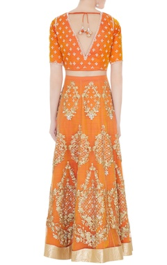 orange raw silk & net sequin lehenga set