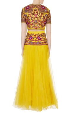 yellow gota & resham embroidered lehenga set