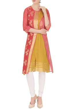 pink cross-over banarasi chanderi jacket with sleeveless inner kurta
