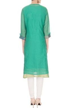 green banarasi chanderi cross-over jacket with inner sleeveless kurta