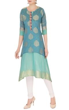 Jajobaa Rama blue & green double layered kurta