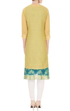 green sleeveless kurta with yellow embroidered kurta