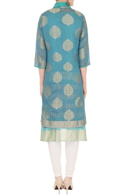 blue reverse collar front open jacket with inner kurta