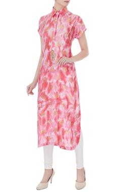 pink viscose printed kurta
