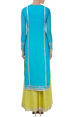 blue viscose machine embroidered kurta with sharara