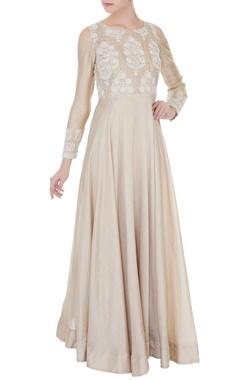 pale grey chanderi dori work gown