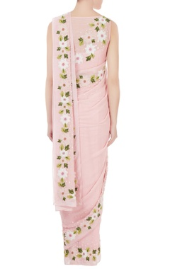 Pink georgette & chanderi resham embroidered pre-stitched sari with blouse
