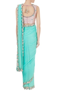 Aqua blue georgette sequin pre-stitched sari with blouse