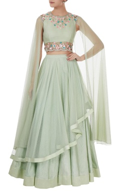 Mint green dupion & net cutdana embroidered lehenga set with dupatta