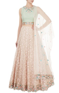 Mint green & pink, dupion & net cutdana embroidered lehenga set with dupatta