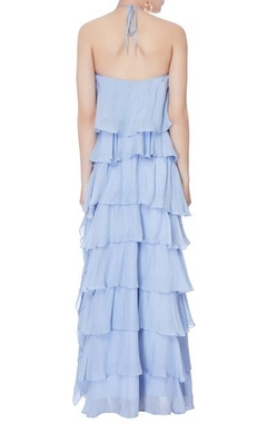 pale blue ruffle halter gown