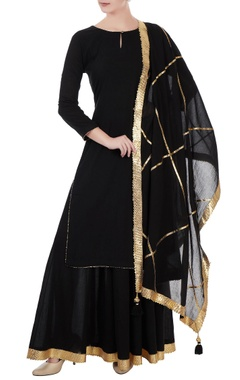 black kurta palazzo set with gota work dupatta