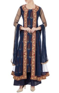 Navy blue net embroidered kurta set