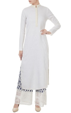 white cotton solid kurta with printed pants