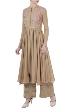 beige voile embroidered kurta with satin linen sequin & thread detailed pants
