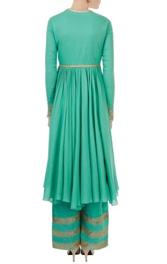 blue hued voile embroidered kurta with satin linen sequin & thread detailed pants