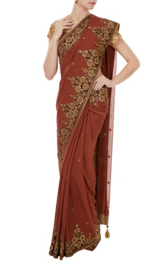 brown georgette hand embroidered sari with golden shimmer fabric unstitched blouse