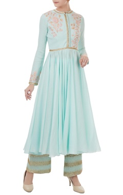 ligt blue voile embroidered kurta with satin linen sequin & thread detailed pants