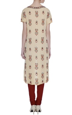 Old rose double georgette bead work & hand embroidery kurta with red churidar