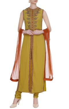 Primrose yellow georgette & cotton resham & zardozi work kurta with churidar & dupatta
