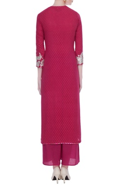Pink silver applique patchwork cotton kurta set