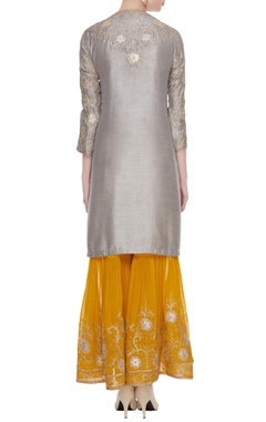 Grey gota embroidered kurta with sharara & dupatta