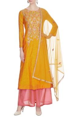 Yellow chanderi embroidered kurta with light pink palazzos & dupatta