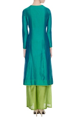 Aqua blue chanderi embroidered kurta with light green palazzos & dupatta