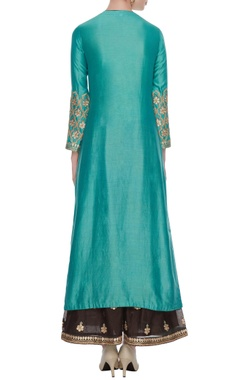 Turquoise blue chanderi gota kurta set