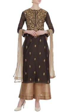 Brown gota embroidered kurta with palazzos & net dupatta
