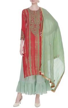 Green & coral red tie-dye kurta set