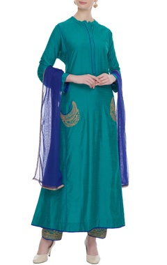Aqua blue embroidered kattan cotton long straight kurta set