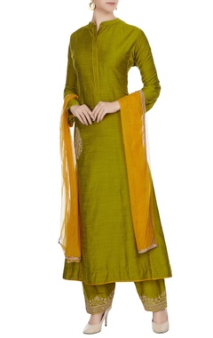 Green cotton embroidered pocket kurta with palazzos & dupatta