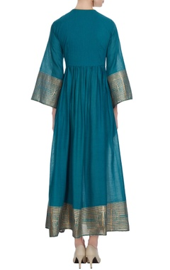 Teal blue cotton applique anarkali kurta