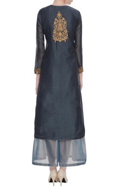 Charcoal black embroidered kurta set