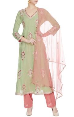 Pista green chanderi embroidered & mirror work kurta with light pink pant & dupatta