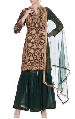 Dark green mashru embroidered kurta with sharara & dupatta
