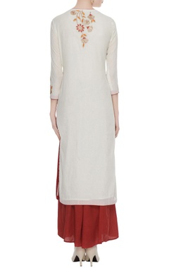 Cream gota embroidered floral kurta set